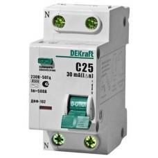 Автомат дифференциальный 1P+N DEKraft ДИФ-102 30мА, номинальный ток 10А