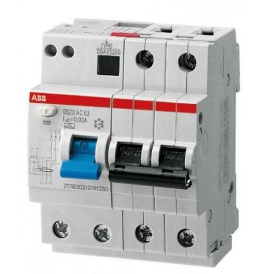 Автомат дифференциальный 2P ABB DS202 AC-C16/0.03, номинальный ток 16А