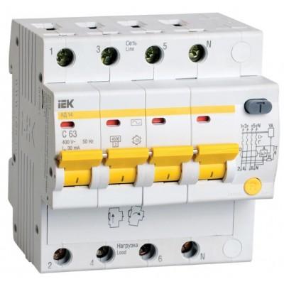Автомат дифференциальный 4Р IEK АД14 30мА, номинальный ток 50А