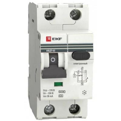 Автомат дифференциальный 2Р EKF АВДТ-63 30мА, номинальный ток 25А