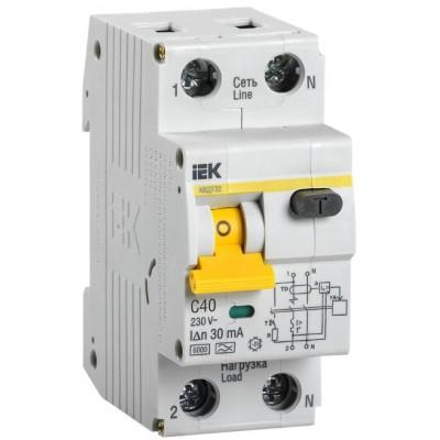 Выключатель автоматический дифференциальный АВДТ 32 1п+N 40А C 30мА тип A IEK