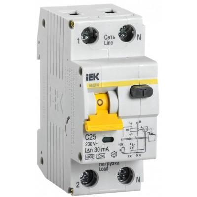 Выключатель автоматический дифференциальный АВДТ 32 1п+N 25А C 30мА тип A IEK