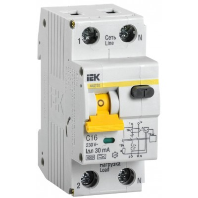 Выключатель автоматический дифференциальный АВДТ 32 1п+N 16А C 30мА тип A IEK