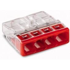 Клемма с пастой 4-проводная 0.5-2.5мм2 одножильный красный WAGO