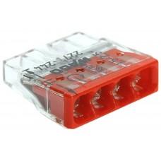 Клемма c пастой 4-проводная 0.5-2.5мм2 одножильный красный WAGO 2273-244