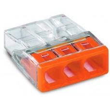 Клемма 3-проводная 0.5-2.5мм2 одножильный оранжевый WAGO