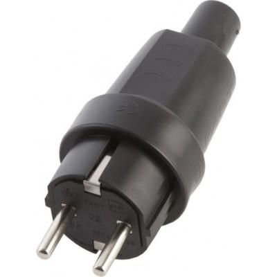 Вилка прямая каучук 2Р+РЕ 16А 250В IP44 | SQ0612-0001 | TDM