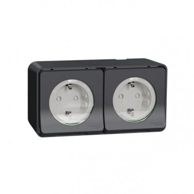 Блок из двух розеток с заземляющим контактом и защитными шторками для открытой установки IP55 Mureva Styl Schneider - Шнайдер Electric антрацит MUR36029