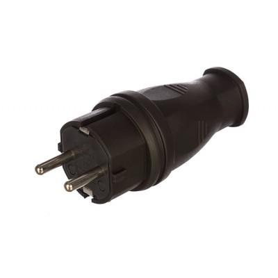 Вилка прямая каучук 2Р+РЕ 16А 250В IP44
