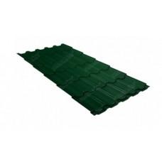 Металлочерепица Grand Line Квинта+, Quarzit RAL 6005 зеленый мох, 0.5 мм