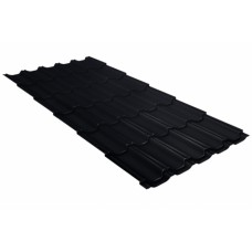 Металлочерепица Grand Line Квинта+, Quarzit  lite RAL RAL 9005 черный темный, 0.5 мм