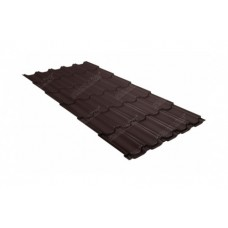 Металлочерепица Grand Line Квинта+, Quarzit  lite RAL 8017 коричневый шоколад, 0.5 мм