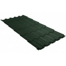 Металлочерепица Grand Line Квинта+, Velur RAL 6020 хромовая зелень, 0.5 мм